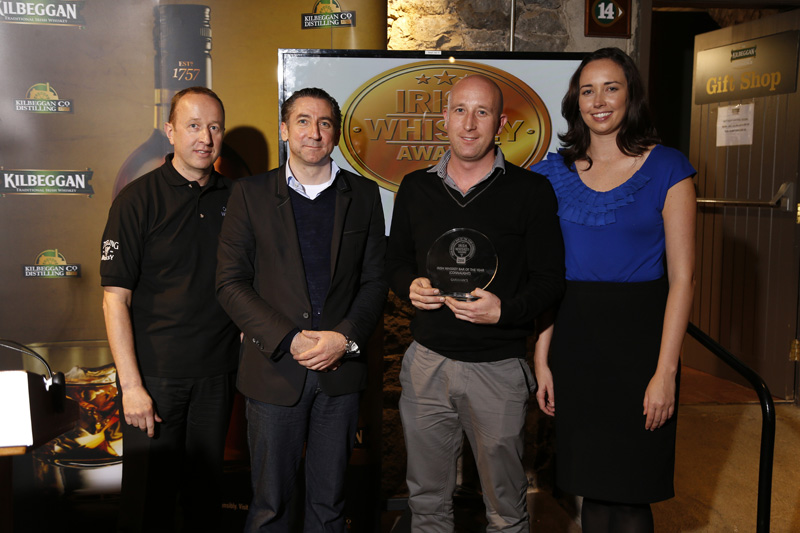 Garavan's Bar in Galway Collecting their trophy for best Whiskey Bar in Connaught